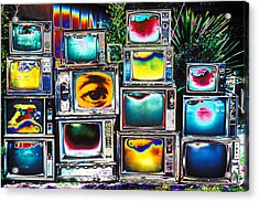 Old Tv's Abstract Acrylic Print by Garry Gay