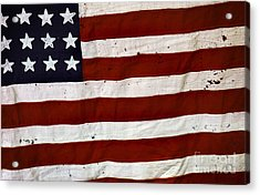 Old Usa Flag Acrylic Print by Carlos Caetano