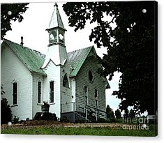 Acrylic Print featuring the digital art Old White Church Of Yamhill County by Glenna McRae