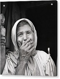 Old Woman From Maramures Romania Acrylic Print by Emanuel Tanjala