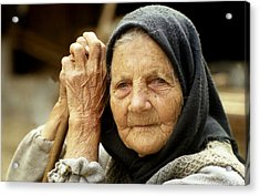 Old Woman In Vrancea Romania Acrylic Print