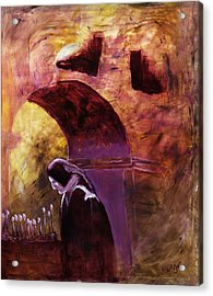 Acrylic Print featuring the painting Old Woman Lighting Candles In Cathedral In Purple And Yellow  by MendyZ M Zimmerman