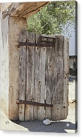 Old Wooden Cemetery Gate In The Adobe Acrylic Print by Douglas Orton