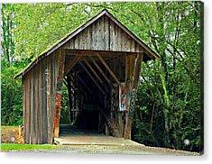 Old Wooden Covered Bridge Acrylic Print by Susan Leggett