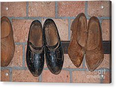 Acrylic Print featuring the digital art Old Wooden Shoes by Carol Ailles