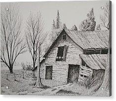 Olde Barn With Truck Acrylic Print by Chris Shepherd