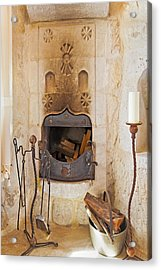 Olde Worlde Fireplace In A Cave  Acrylic Print by Kantilal Patel