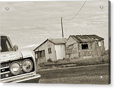 Olds Cutlass 63 Headlights And Huts Bw Acrylic Print by Philippe Taka