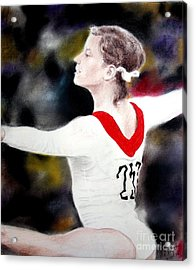 Olga Korbut Performing At The 1972 Summer Olympics In Munich Acrylic Print by Jim Fitzpatrick