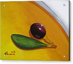 Olive In Olive Oil Acrylic Print by Kayleigh Semeniuk
