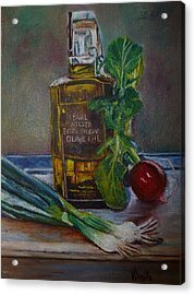 Olive Oil With Onions And Radish Acrylic Print by Virgilla Lammons