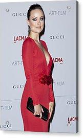 Olivia Wilde Wearing A Gucci Dress Acrylic Print by Everett