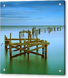 Ols Swanage Pier Acrylic Print by Mark Leader