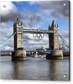 Olympic Rings On Tower Bridge #london Acrylic Print