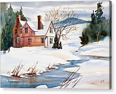 On A Winters Day Watercolor Painting Acrylic Print by Michelle Wiarda