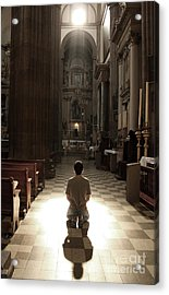 On My Knees In Prayer Acrylic Print by Rick Wolfryd