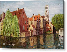 On The Canal Acrylic Print by Alan Mager