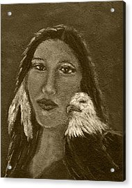 Onawa Native American Woman Of Wisdom With Eagle In Sepia Acrylic Print by The Art With A Heart By Charlotte Phillips