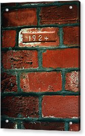 One Brick To Remember - 1924 Date Stone Acrylic Print by Steven Milner