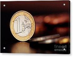 One Euro Coin Acrylic Print by Soultana Koleska