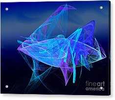 One Fish Blue Fish Acrylic Print by Andee Design