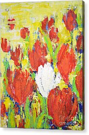 Acrylic Print featuring the painting One White Tulip by Kathleen Pio