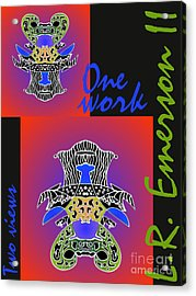 One Work Two Views 2009 Collectors Poster By Topsy Turvy Upside Down Masg Artist L R Emerson II Acrylic Print