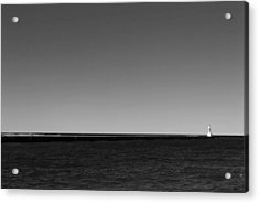 Onekama Pier In Black And White Acrylic Print