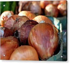 Onions At A Roadside Market Acrylic Print by Toni Hopper
