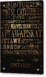 Ontario Typography Acrylic Print by Tanya Harrison