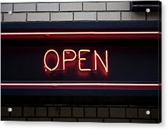 Open Neon Sign Acrylic Print by Frederick Bass