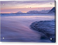 Opposing Waves At Sunset Acrylic Print by Tim Grams