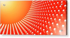 Orange Abstract Cubes In A Curve Acrylic Print by Ralf Hiemisch