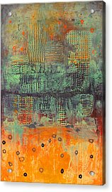 Orange Abstract Acrylic Print by Lolita Bronzini