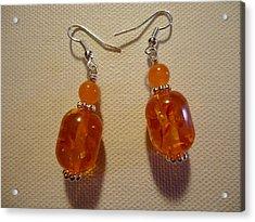 Orange Ball Drop Earrings Acrylic Print by Jenna Green