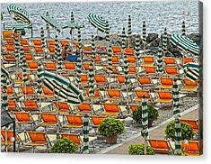 Orange Beach Chairs  Acrylic Print by Mauro Celotti