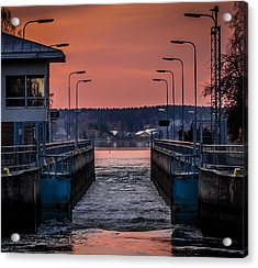 Acrylic Print featuring the photograph Orange Canal by Matti Ollikainen