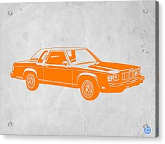 Orange Car Acrylic Print by Naxart Studio