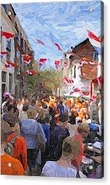 Orange Day Party Acrylic Print by Martin  Fry