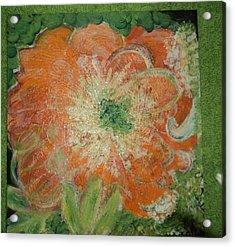 Orange Floral Fantasy Acrylic Print by Anne-Elizabeth Whiteway