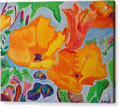 Acrylic Print featuring the painting Orange Flowers Reaching For The Sun by Meryl Goudey