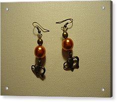 Orange Gold Elephant Earrings Acrylic Print by Jenna Green