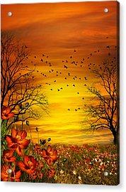 Orange Meadow Montage Acrylic Print by Julie L Hoddinott