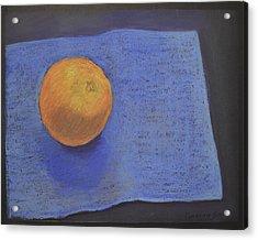 Orange On Blue Acrylic Print by Genevieve Brown