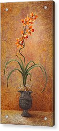 Acrylic Print featuring the painting Orange Orchid by Pam Talley