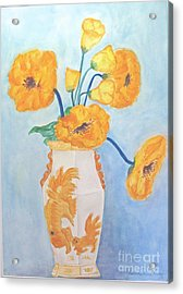 Orange Poppies In Water Color Acrylic Print