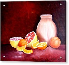 Orange Still Life Acrylic Print by Carola Ann-Margret Forsberg