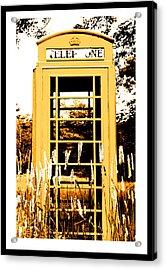 Orange Telephone Booth In The Field Acrylic Print by Kara Ray