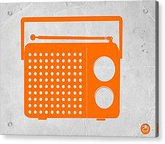 Orange Transistor Radio Acrylic Print by Naxart Studio