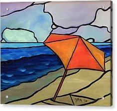 Orange Umbrella At The Beach Acrylic Print by David McGhee